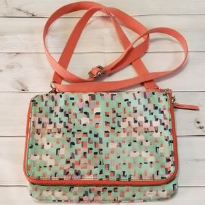 Fossil Peach Pastel Nylon Zippered Crossbody Bag